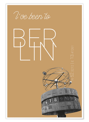 Premium-plakat Popart Berlin World Clock I have been to Color: Pale gold