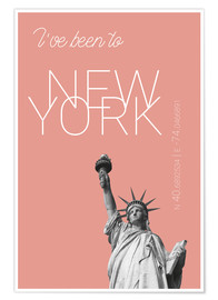 Premium-plakat Popart New York Statue of Liberty I have been to Color: blooming dahlia