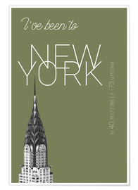 Premium-plakat Popart New York Chrysler Building I have been to Color: calliste green