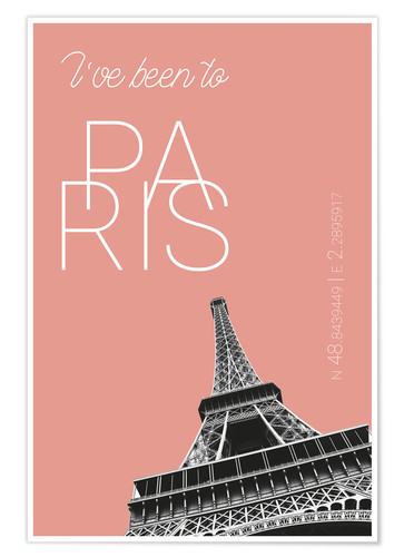 Premium-plakat Popart Paris Eiffel Tower I have been to Color: blooming dahlia