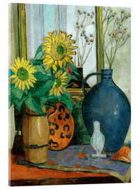 Akrylbillede  Still-life with sunflowers and Matisse bowl - Oskar Moll