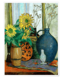 Premium-plakat Still-life with sunflowers and Matisse bowl