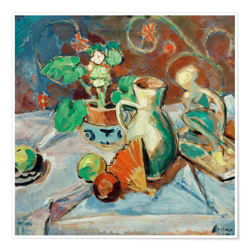 Premium-plakat Still life with a white pitcher, plastic, fans and oranges
