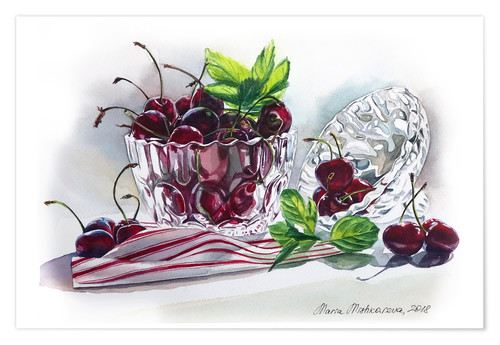 Premium-plakat Watercolor Cherry bowl