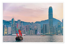 Premium-plakat Skyline of Victoria Harbor, in Hong Kong