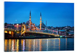 Akrylbillede  Galata Bridge at night in Istanbul