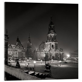 Akrylbillede  Dresden Hofkirche in winter