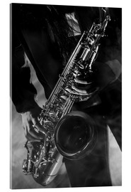 Akrylbillede  Close up of a saxophonist