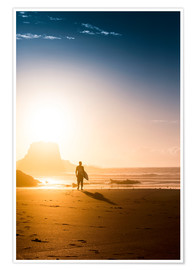 Premium-plakat Silhouette of a surfer on the beach