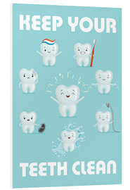 Print på skumplade  Keep your teeth clean - Kidz Collection