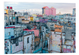 Print på skumplade  Authentic view of a street of Old Havana