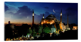 Akrylbillede  View of Hagia Sophia after sunset