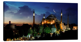 Lærredsbillede  View of Hagia Sophia after sunset