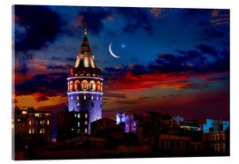 Akrylbillede  Illuminated Galata Tower