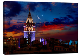 Lærredsbillede  Illuminated Galata Tower