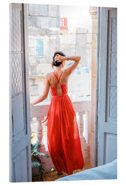 Akrylbillede  Young attractive woman in red dress