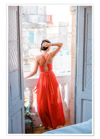 Premium-plakat  Young attractive woman in red dress