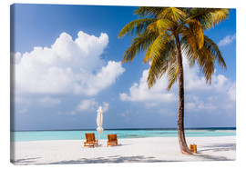 Lærredsbillede  Beach with chairs and umbrella, Maldives - Matteo Colombo