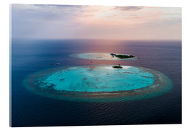 Akrylbillede  Islands at sunset in the Maldives - Matteo Colombo