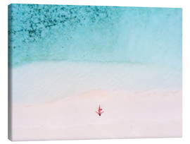 Lærredsbillede  Drone view of woman on the beach, Maldives - Matteo Colombo