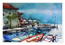 Premium-plakat Lake Garda, old port in Limone