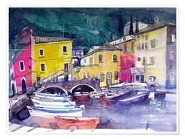 Premium-plakat Lake Garda, harbor in Cassone