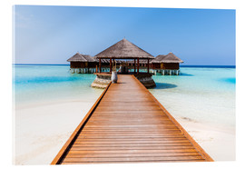 Akrylbillede  Jetty and overwater bungalows, Maldives - Matteo Colombo