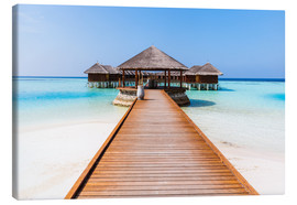 Lærredsbillede  Jetty and overwater bungalows, Maldives - Matteo Colombo