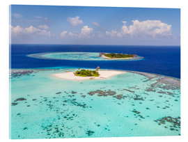 Akrylbillede  Aerial view of islands in the Maldives - Matteo Colombo