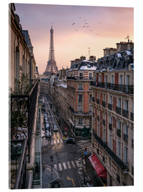 Akrylbillede  Street in Paris with Eiffel tower at sunset - Jan Christopher Becke