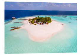 Akrylbillede  Drone view of paradise island, Maldives - Matteo Colombo