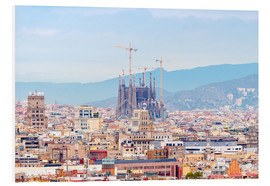 Print på skumplade  Barcelona with the Cathedral of Gaudí