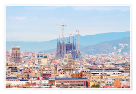 Premium-plakat  Barcelona with the Cathedral of Gaudí