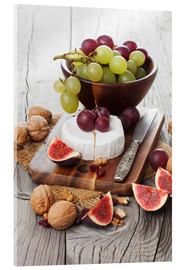 Akrylbillede  Camembert cheese with figs, nuts and grapes