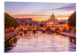 Akrylbillede  Skyline of Rome in a magenta dawn