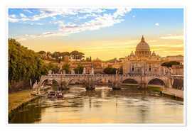 Premium-plakat Saint Peter Basilica with Sant'Angelo Bridge