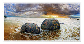 Premium-plakat Moeraki Boulders, South Island, New Zealand, Oceania