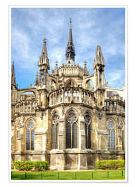 Premium-plakat Old Catholic cathedral in gothic style, Notre Dame de Reims Cathedral