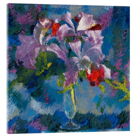 Akrylbillede  Orchids on a blue background - Augusto Giacometti