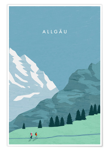 Premium-plakat Illustration Allgäu