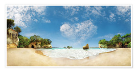 Premium-plakat Cathedral Cove Beach with Heart Cloud - New Zealand