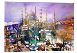 Akrylbillede  Istanbul, view to the blue mosque - Johann Pickl