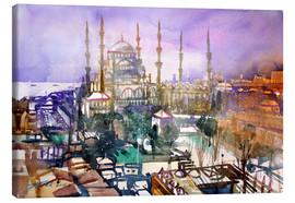Lærredsbillede  Istanbul, view to the blue mosque - Johann Pickl