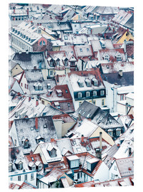 Akrylbillede  Snowy rooftops in the old town of Heidelberg - Jan Christopher Becke