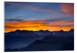 Akrylbillede  Colorful sky at sunset over the Alps - Fabio Lamanna
