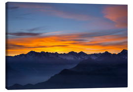 Lærredsbillede  Colorful sky at sunset over the Alps - Fabio Lamanna