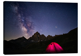 Lærredsbillede  Glowing camping tent under starry sky on the Alps - Fabio Lamanna