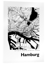 Akrylbillede  City map of Hamburg - 44spaces