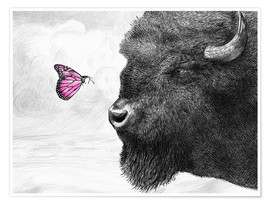 Premium-plakat Bison And Butterfly