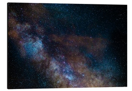Print på aluminium  The Milky Way galaxy, details of the colorful core - Fabio Lamanna